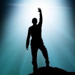 Victorious Man on Mountain